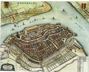 "Dordrecht, the map is from ""Blaeu's Toonneel der Steden"" Dutch city maps, (Willem and Joan Blaeu), 1652."