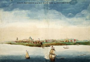 View of Nieuw Amsterdam by Johannes Vingboons (1664), an early picture of Nieuw Amsterdam made in the year when it was conquered by the English under Richard Nicolls. In 1664, New Amsterdam passed to English control, and English and Dutch settlers lived together peacefully. In 1673, there was a short interruption of English rule when the Netherlands temporary regained the settlement. In 1674, New York was returned to the English, and in 1686 it became the first city in the colonies to receive a royal charter. After the American Revolution, it became the first capital of the United States.