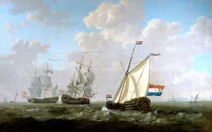 Jacob van Stry, The yacht of the Chamber of Rotterdam for the Dutch East India Company salutes an East-Indiaman and a Dutch man-of-war on the roadstead of Hellevoetsluis, 1790