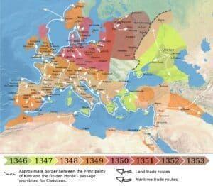Verspreiding van de Zwarte Dood in Europa en het Nabije Oosten (1346-1353)