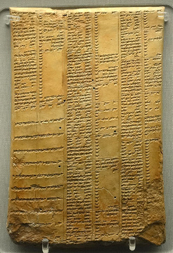 Cuneiform synonym list tablet from the Library of Ashurbanipal. Neo-Assyrian period (934 BC - 608 BC).