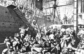 Boarding the ship, 1874