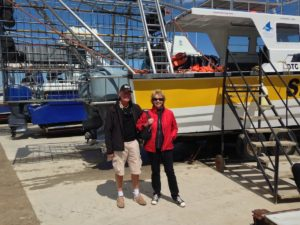 Cees & Hélène at the wharf of White Shark Projects, Gans Baai, South Africa
