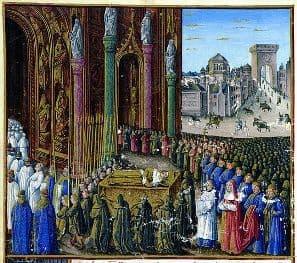 The funeral of Baldwin I from the book: Les Passages d'outremer faits par les Français contre les Turcs depuis Charlemagne jusqu'en 1462.