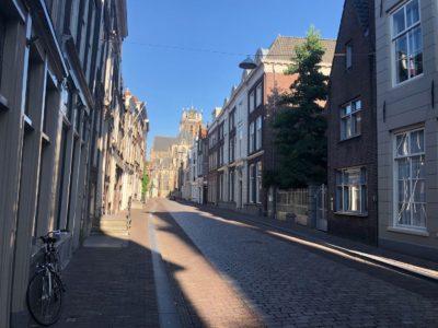 Grotekerksbuurt Dordrecht, met rechts (links van de boom) het Pelgrimshuys