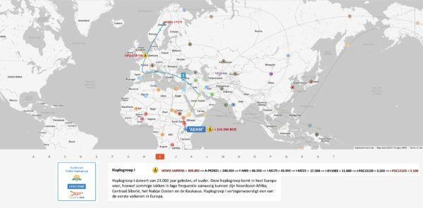 Out of Africa migratie van mijn Haplogroup I-FGC15105