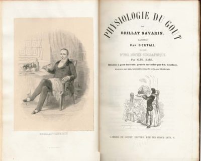 """Title page of """"La Physiologie du Goût"""" (""""The Physiology of Taste"""") by French gastronome Jean Anthelme Brillat-Savarin (1755-1826) with a portrait of the author. 1848 edition."""