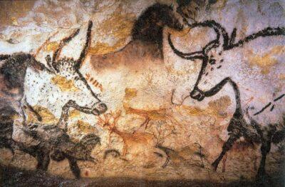 Grotten van Lascaux, afbeelding van oeros, paarden en herten, 5.000 - 17.000 years oud.