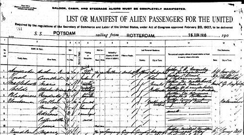 Passengerlist 25-06-1910 Willem Kloosterman