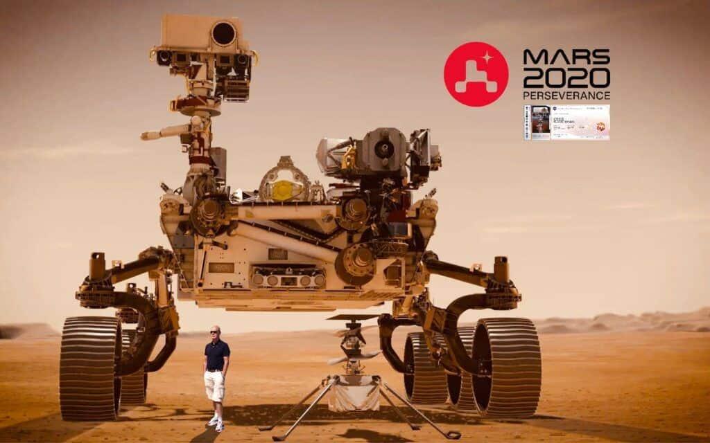 NASA's Mars Perseverance Rover met mijn Mars ticket en ikzelf.