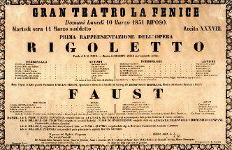 Poster for the world premiere of Verdi's opera Rigoletto (11 March 1851)