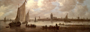 Jan van Gooyen, the view is 17e century Dordrecht seen from the river Meuse