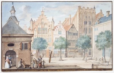 A View of the Wijnstraat, Dordrecht 1745 by Aert Schouman, born 4 March 1710. Dutch printmaker, painter, draughtsman and ornamental painter.I n the foreground to the left is the Exchange, in the background the houses Scharlaken, Leeuwensteijn and Blijenburg Work location: Dordrecht, The Hague (ca. 1748-1792), Middelburg (1761, 1764), England (1765), Groningen.