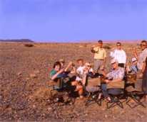 Champagen in the Namib desert, 1999