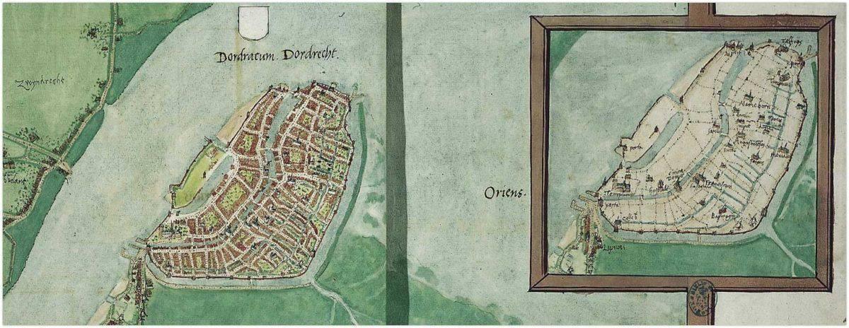 Zeer oude stadsplattegrond van Dordrecht, hand getekend in 1545 door Jacob van Deventer