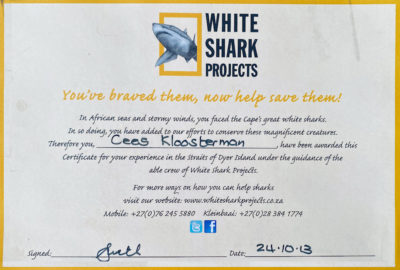 White Shark Projects, Cage Dive certificate Cees